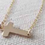 Sideways Cross Bracelet, 14kt Gold ..