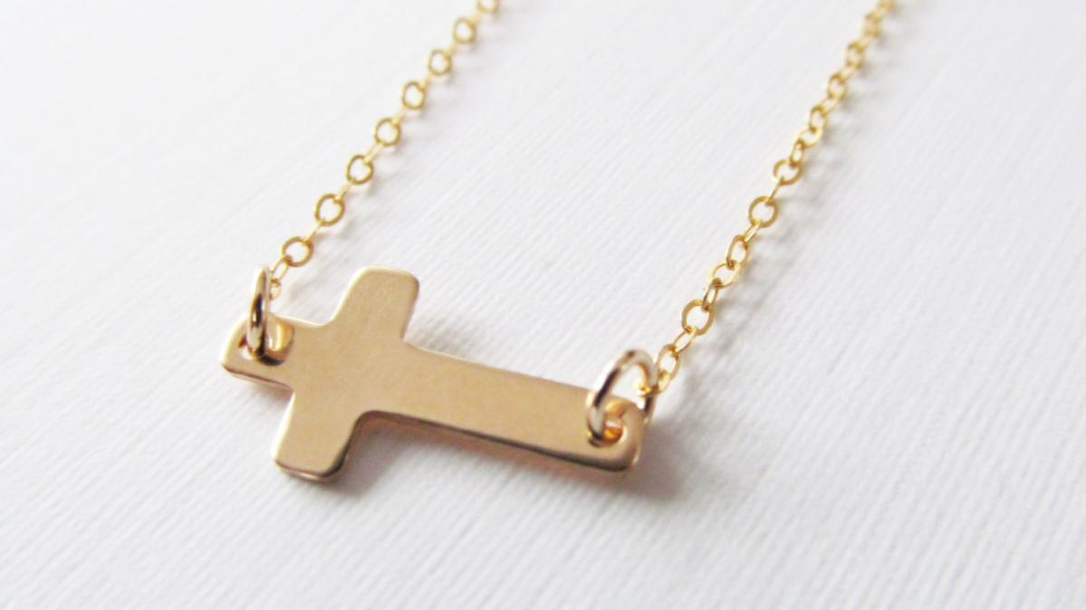 Sideways Cross Bracelet, 14kt Gold Filled Bracelet