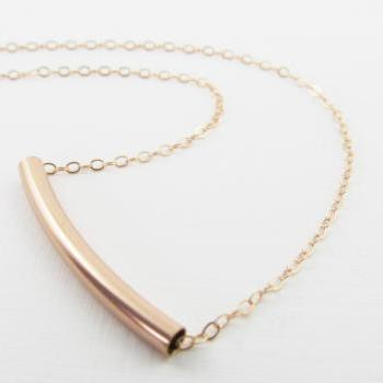 Rose Gold Bar Necklace, 14kt Rose Gold Filled Necklace, Gift for Her