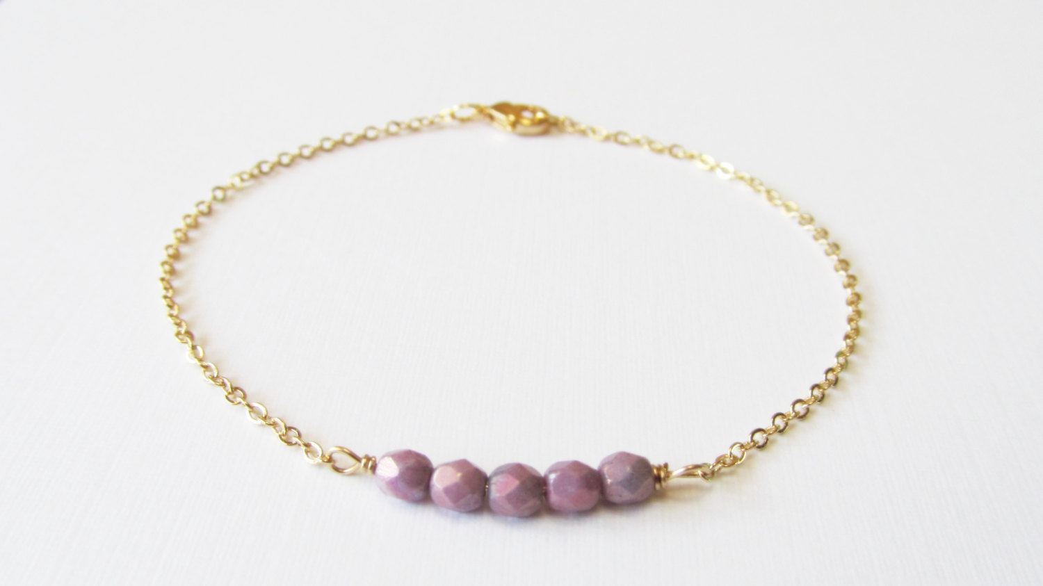 Dainty Beaded Gold Bracelet 14kt Filled Gift For Her