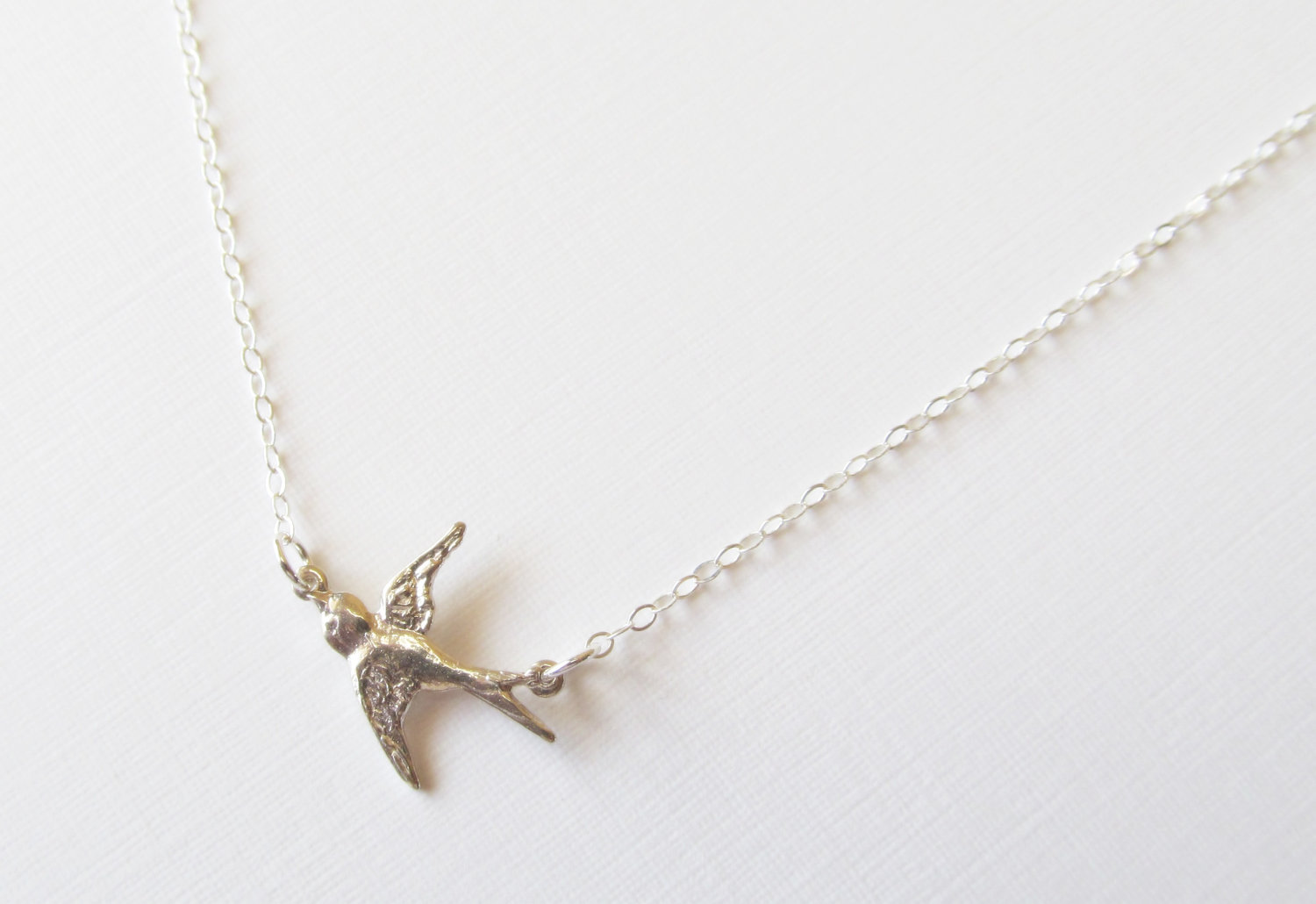 silver bird rose gold plated robin necklace
